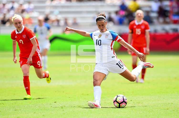 Houston, TX - April 9, 2017: The U.S. Women's national team go up 5-1 over Russia in an international friendly match at BBVA Compass Stadium.