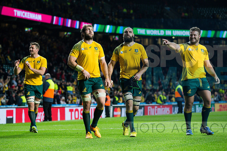 The Australia team celebrate the victory - Rugby World Cup 2015 - Pool A - Australia v Wales - Twickenham Stadium - London- England - 10th October 2015 - Picture Charlie Forgham Bailey/Sportimage