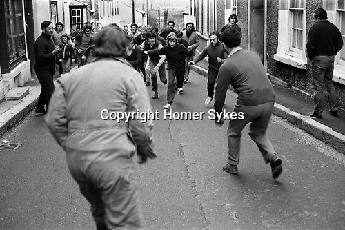 Hurling the Silver Ball St Columb Cornwall England 1972.<br /> <br /> Played annually on Shrove Tuesday. At St Columb hurling is played by two teams comprising of of Townsmen and Countrymen. My ref 7/360/1972,