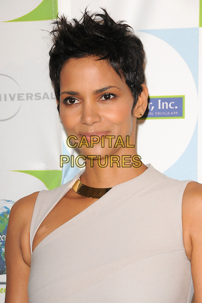 HALLE BERRY.at the Jenesse 30th Anniversary Silver Rose Gala & Auction held at The Beverly Hills Hotel in Beverly Hills, California, USA, April 18th 2010.                                                                   portrait headshot gold collar metal slit cut out white cream beige sleeveless cropped short hair studs stud earrings .CAP/RKE/DVS.©DVS/RockinExposures/Capital Pictures.