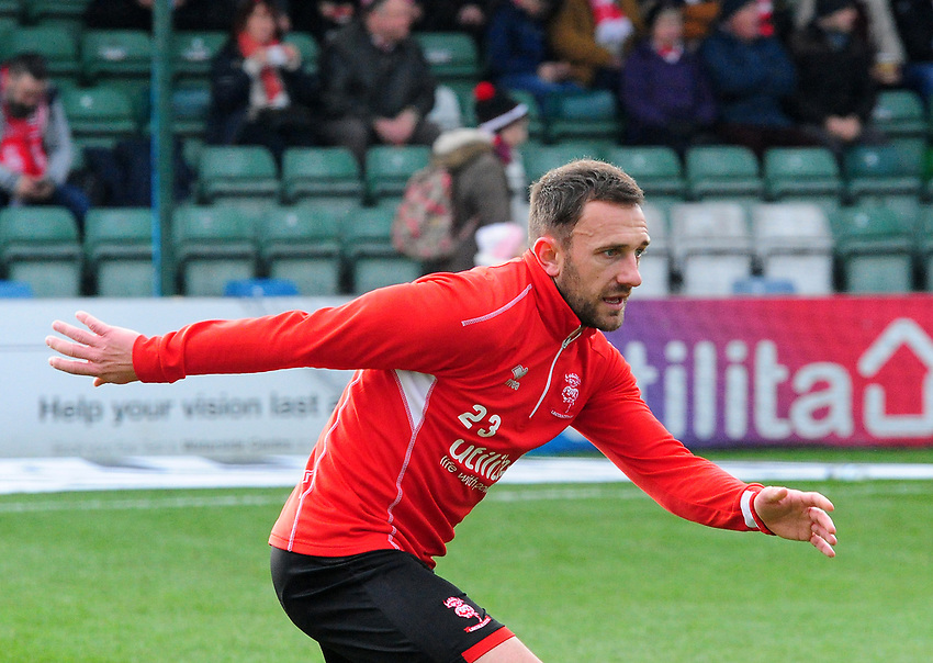 Lincoln City's Neal Eardley during the pre-match warm-up<br /> <br /> Photographer Andrew Vaughan/CameraSport<br /> <br /> The EFL Sky Bet League Two - Lincoln City v Mansfield Town - Saturday 24th November 2018 - Sincil Bank - Lincoln<br /> <br /> World Copyright © 2018 CameraSport. All rights reserved. 43 Linden Ave. Countesthorpe. Leicester. England. LE8 5PG - Tel: +44 (0) 116 277 4147 - admin@camerasport.com - www.camerasport.com
