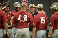 NWA Democrat-Gazette/ANDY SHUPE<br /> Arkansas coach Dave Van Horn directs his players Friday, June 7, 2019, during practice in The Fowler Family Baseball and Track Training Center ahead of today's NCAA Super Regional game at Baum-Walker Stadium in Fayetteville. Visit nwadg.com/photos to see more photographs from the practices.
