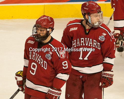 Luke Esposito (Harvard - 9), Sean Malone (Harvard - 17) - The University of Minnesota Duluth Bulldogs defeated the Harvard University Crimson 2-1 in their Frozen Four semi-final on April 6, 2017, at the United Center in Chicago, Illinois.