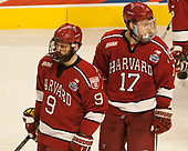 Luke Esposito (Harvard - 9), Sean Malone (Harvard - 17) - The University of Minnesota Duluth Bulldogs defeated the Harvard University Crimson 2-1 in their Frozen Four semi-final on April 6, 2017, at the United Center in Chicago, Illinois.