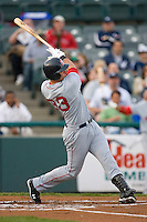 Aaron Bates #33 of the Portland Sea Dogs follows through on his swing versus the Trenton Thunder at Waterfront Park May 12, 2009 in Trenton, New Jersey. (Photo by Brian Westerholt / Four Seam Images)