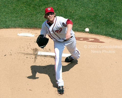 Washington Nationals left handed pitcher Ross Detwiler (48) works in the first inning against the Cincinnati Reds at Nationals Park in Washington, D.C. on Sunday, April 15, 2012.  All of the Reds and Nationals players are wearing number 42 in honor of Jackie Robinson Day..Credit: Ron Sachs / CNP