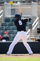 Louis Silverio (8) of the Kannapolis Intimidators at bat against the Delmarva Shorebirds at Kannapolis Intimidators Stadium on April 13, 2016 in Kannapolis, North Carolina.  The Intimidators defeated the Shorebirds 8-7.  (Brian Westerholt/Four Seam Images)