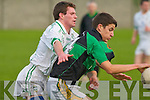 Churchill's Michael Brennan and Listry's Cathal O'Donoghue..   Copyright Kerry's Eye 2008