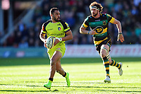Telusa Veainu of Leicester Tigers in possession. Aviva Premiership match, between Northampton Saints and Leicester Tigers on March 25, 2017 at Franklin's Gardens in Northampton, England. Photo by: Patrick Khachfe / JMP