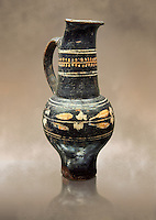 Early 3rd century B.C oenochoe, wine jug, with a trilobata spout, black and overpainted , inv 4380,   National Archaeological Museum Florence, Italy
