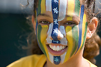 24 May 2009: A soccer fan shows off her facepaint before the game between Los Angeles Sol and FC Gold Pride at Buck Shaw Stadium in Santa Clara, California.  Los Angeles Sol defeated FC Gold Pride, 2-0.