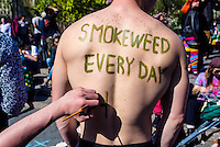 New York, USA - Marijuana advocates rally in Union Square to demand a legal market for cannabis in New York City and what they call the end to the use of drug law as a tool for social control and mass incarceration. ©Stacy Walsh Rosenstock