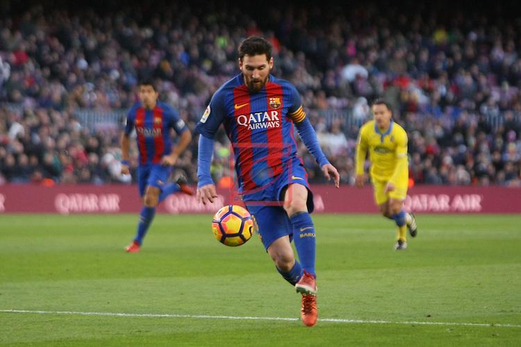 League Santander 2016/2017. Game: 18.<br /> FC Barcelona vs UD Las Palmas: 5-0.<br /> Lionel Messi.