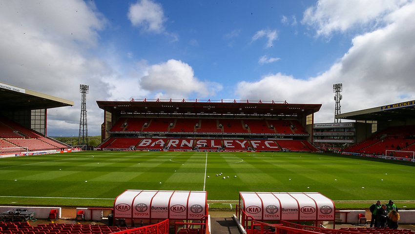 A general view of Oakwell, home of Barnsley<br /> <br /> Photographer Alex Dodd/CameraSport<br /> <br /> The EFL Sky Bet League One - Barnsley v Blackpool - Saturday 27th April 2019 - Oakwell - Barnsley<br /> <br /> World Copyright © 2019 CameraSport. All rights reserved. 43 Linden Ave. Countesthorpe. Leicester. England. LE8 5PG - Tel: +44 (0) 116 277 4147 - admin@camerasport.com - www.camerasport.com