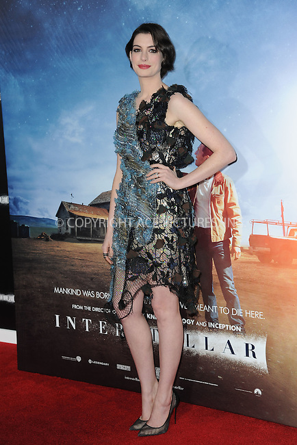 WWW.ACEPIXS.COM<br /> November 3, 2014 New York City<br /> <br /> Anne Hathaway attending the 'Interstellar' New York Premiere at AMC Lincoln Square Theater in Manhattan on November 3, 2014 in New York City. <br /> <br /> By Line: Kristin Callahan/ACE Pictures<br /> ACE Pictures, Inc.<br /> tel: 646 769 0430<br /> Email: info@acepixs.com<br /> www.acepixs.com