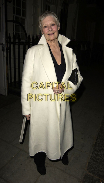 DAME JUDI DENCH.Hay Fever - press night at Theatre Royal, Haymarker, London, UK..April 20th, 2006.Ref: CAN.full length white coat.www.capitalpictures.com.sales@capitalpictures.com.©Capital Pictures