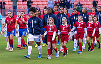 HOUSTON, TX - JANUARY 28: Yomira Pinzon #3 of Panama leads her team onto the field during a game between Costa Rica and Panama at BBVA Stadium on January 28, 2020 in Houston, Texas.