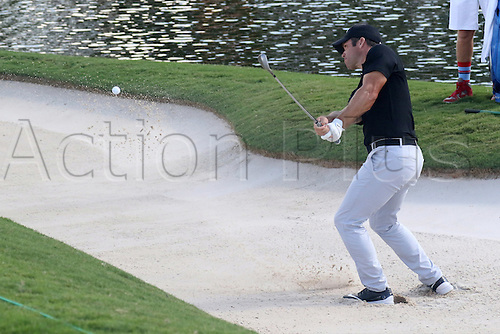 23.09.2016. Atlanta, Georgia, USA.   Paul Casey hits out of the bunker during the second round of the 2016 PGA Tour Championship at East Lake Golf Club in Atlanta, Georgia.