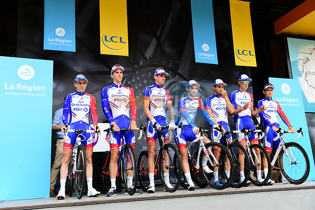 Groupama-FDJ team introduced on stage at sign on before Stage 1 of the 2018 Criterium du Dauphine 2018 running 179km from Valence to Saint-Just-Saint-Rambert, France. 4th June 2018.<br /> Picture: ASO/Alex Broadway | Cyclefile<br /> <br /> <br /> All photos usage must carry mandatory copyright credit (© Cyclefile | ASO/Alex Broadway)