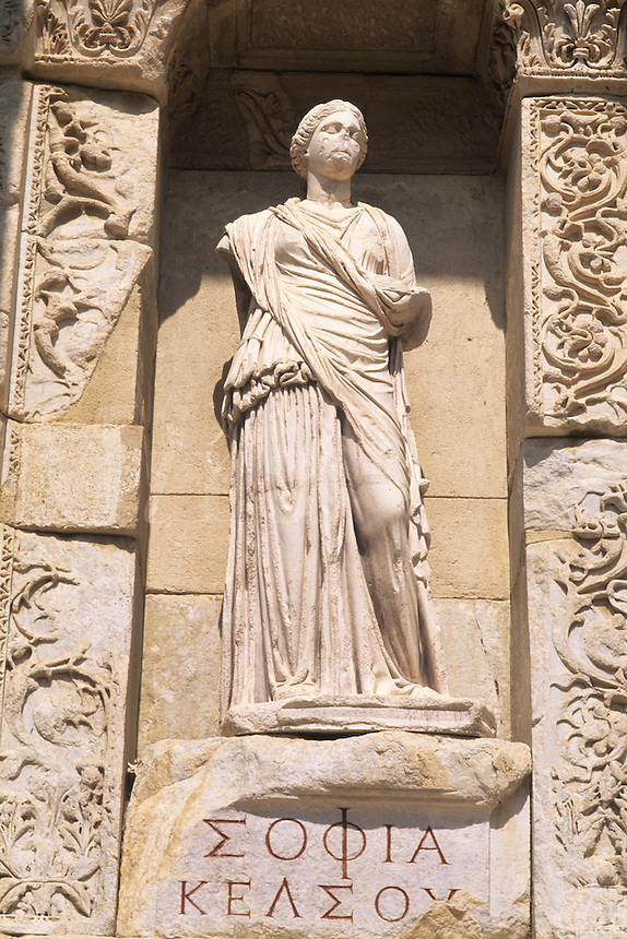 Statue in wall ancient historical at wonderful ruins of Ephesus Turkey