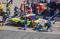 Sept. 28, 2008; Kansas City, KS, USA; Nascar Sprint Cup Series driver Casey Mears pits during the Camping World RV 400 at Kansas Speedway. Mandatory Credit: Mark J. Rebilas-