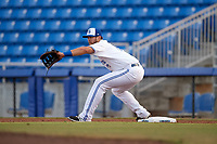 Dunedin Blue Jays first baseman Matt Dean (8) stretches to receive a throw during a game against the St. Lucie Mets on April 19, 2017 at Florida Auto Exchange Stadium in Dunedin, Florida.  Dunedin defeated St. Lucie 9-1.  (Mike Janes/Four Seam Images)