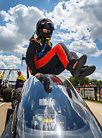 Jul 8, 2017; Joliet, IL, USA; NHRA top alcohol dragster driver Krista Baldwin climbs into her car during qualifying for the Route 66 Nationals at Route 66 Raceway. Mandatory Credit: Mark J. Rebilas-USA TODAY Sports