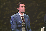 Defending Champion Tom Dumoulin (NED) on stage at the Giro d'Italia 2018 Route Presentation held in the RAI TV Studios, Milan, Italy. 29th November 2017.<br /> Picture: LaPresse/Fabio Ferrari | Cyclefile<br /> <br /> <br /> All photos usage must carry mandatory copyright credit (&copy; Cyclefile | LaPresse/Fabio Ferrari)
