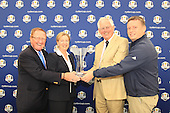 Richard Hills, Ryder Cup Director (L), Shona Robison, SCotland's Minister for Commonwealth Games and Sport, Allan Mackay Captain Blairgowrie Golf Club and Stuart Wilson, European Team Captain, Junior Ryder Cup  at the press conference to announce that Blairgowrie Golf Club will host the Junior Ryder Cup in 2014. The press converence took place during the second round of the 2012 Johnnie Walker Championships which are being played over the PGA Centenary Course at Gleneagles from 23rd to 26thh August 2012: Picture Stuart Adams www.golftourimages.com: 24th August 2012
