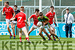 Donal O'Sullivan Kerry in action against Dean McGreehan Louth in the All Ireland Minor Football Quarter Finals at O'Moore Park, Portlaoise on Saturday.