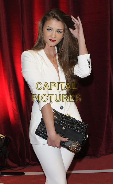 Brooke Vincent.attended the British Soap Awards 2013, Media City, Salford, Manchester, England, UK, 18th May 2013..arrivals half length white jacket trousers suit black clutch bag hand touching hair .CAP/CAN.©Can Nguyen/Capital Pictures.