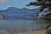 Icicles and an autumn snow at Cameron Lake in Waterton Lakes National Park