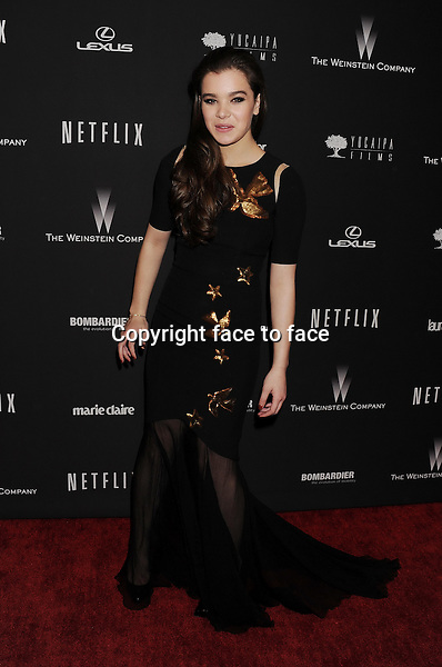 BEVERLY HILLS, CA- JANUARY 12: Actress Hailee Steinfeld attends The Weinstein Company &amp; Netflix 2014 Golden Globes After Party held at The Beverly Hilton Hotel on January 12, 2014 in Beverly Hills, California.<br />