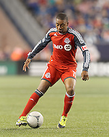 Toronto FC midfielder Reggie Lambe (19) controls the ball. In a Major League Soccer (MLS) match, Toronto FC defeated New England Revolution, 1-0, at Gillette Stadium on July 14, 2012.