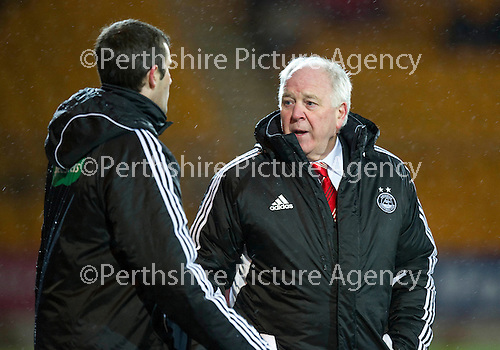 St Johnstone v Aberdeen...13.12.11   SPL .Craig Brown argues with Alan Muir after Andrew Considine was sent off.Picture by Graeme Hart..Copyright Perthshire Picture Agency.Tel: 01738 623350  Mobile: 07990 594431