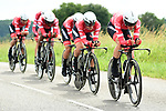 Trek-Segafredo in action during Stage 3 of the 2018 Criterium du Dauphine 2018 a Team Time Trial running 35km from Pont de Vaux to Louhans Chateaurenaud, France. 6th June 2018.<br /> Picture: ASO/Alex Broadway | Cyclefile<br /> <br /> <br /> All photos usage must carry mandatory copyright credit (&copy; Cyclefile | ASO/Alex Broadway)