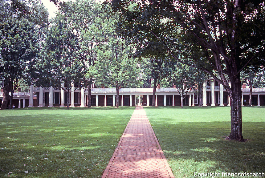 Thomas Jefferson: University of Virginia--lawn and pavilions. Two rows of trees.  Photo '85.