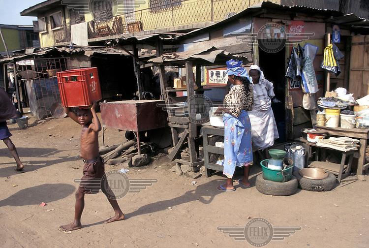 Market in a slum district.