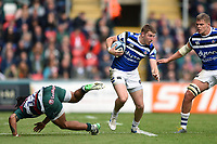 Ruaridh McConnochie of Bath Rugby gets past Kyle Eastmond of Leicester Tigers. Gallagher Premiership match, between Leicester Tigers and Bath Rugby on May 18, 2019 at Welford Road in Leicester, England. Photo by: Patrick Khachfe / Onside Images