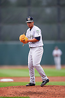 Kane County Cougars starting pitcher Bo Takahashi (32) gets ready to deliver a pitch during the first game of a doubleheader against the Cedar Rapids Kernels on May 10, 2016 at Perfect Game Field in Cedar Rapids, Iowa.  Kane County defeated Cedar Rapids 2-0.  (Mike Janes/Four Seam Images)