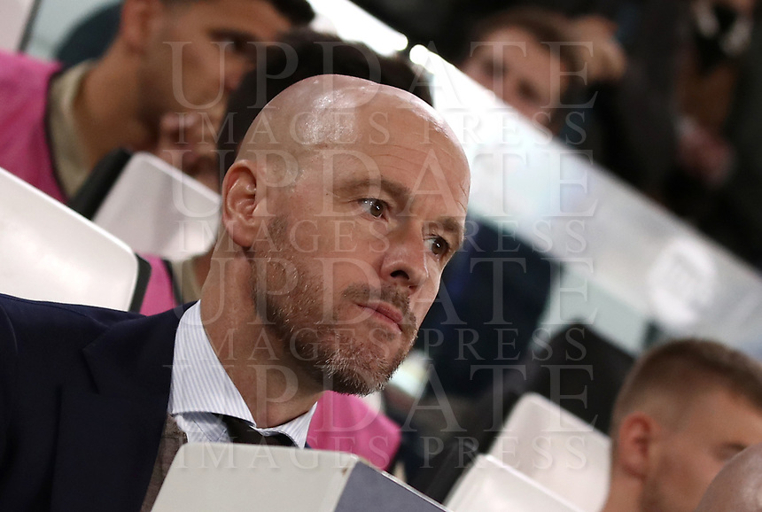 Football Soccer: UEFA Champions UEFA Champions League quarter final second leg Juventus - Ajax, Allianz Stadium, Turin, Italy, March 12, 2019. <br /> Ajax's coach Erik Ten Hag waits for the start of the Uefa Champions League football match between Juventus and Ajax  at the Allianz Stadium, on March 12, 2019.<br /> UPDATE IMAGES PRESS/Isabella Bonotto