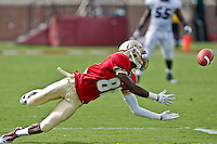 September 03, 2011:  Florida State Seminoles wide receiver Kenny Shaw (81) dives for a pass that fell incomplete during 1st half action between the Florida State Seminoles and the Louisiana Monroe Warhawks at Doak S. Campbell Stadium in Tallahassee, Florida.