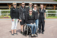 TEAM NZ: PARA-EQUESTRIAN: (L-R) ESNZ Chef De Mission: Sarah Harris; ESNZ HP Operations Manager: Warrick Allan; Anthea Dixon; Jenny Affleck; Bella Robson; Jen Brechin: The Alltech FEI World Equestrian Games<br /> 2014 In Normandy - France (Sunday 24 August) CREDIT: Libby Law COPYRIGHT: LIBBY LAW PHOTOGRAPHY - NZL