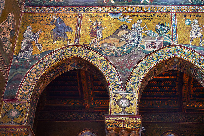 North wall mosaics depicting Abraham about to sacrifice Isaac in the Norman-Byzantine medieval cathedral  of Monreale,  province of Palermo, Sicily, Italy.