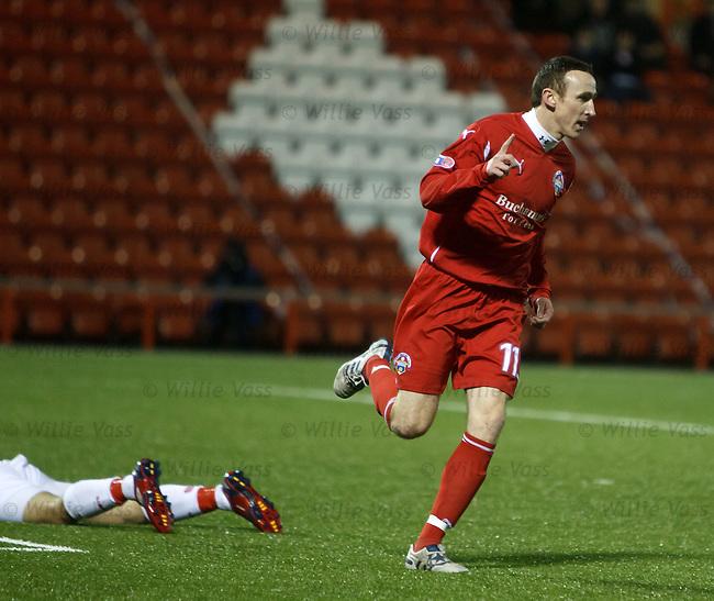 Morton striker David O'Brien turns away after opening the scoring