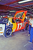 Darrell Waltrip, #17 Rick Hendrick Tide Chevrolet, garage area , Daytona 500, Daytona International Speedway, Daytona Beach, Florida, February 15, 1987. (Photo by Brian Cleary/www.bcpix.com)