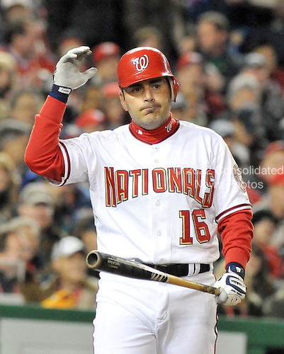 Washington, D.C. - March 29, 2008 -- Washington Nationals catcher Paul LoDuca (16) shows frustration after fouling off a pitch in first inning action against the Atlanta Braves at Nationals Park in Washington, D.C. on Sunday, March 30, 2008..Credit: Ron Sachs / CNP.(RESTRICTION: NO New York or New Jersey Newspapers or newspapers within a 75 mile radius of New York City)