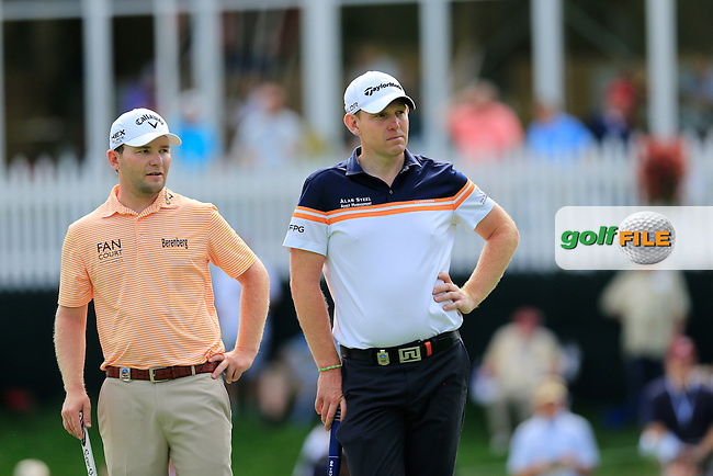 Brandon Grace (RSA) and Stephen Gallacher (SCO) on the 6th green during Thursday's Round 1 of the 95th US PGA Championship 2013 held at Oak Hills Country Club, Rochester, New York.<br /> 8th August 2013.<br /> Picture: Eoin Clarke www.golffile.ie