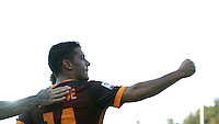 Calcio, Serie A: Frosinone vs Roma. Frosinone, stadio Comunale, 12 settembre 2015.<br /> Roma&rsquo;s Iago Falque, right, celebrates after scoring during the Italian Serie A football match between Frosinone and Roma at Frosinone Comunale stadium, 12 September 2015.<br /> UPDATE IMAGES PRESS/Isabella Bonotto