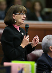 Nevada Assemblywoman Robin Titus, R-Wellington, speaks during Assembly floor debate at the Legislative Building in Carson City, Nev., on Sunday, May 31, 2015.  <br /> Photo by Cathleen Allison